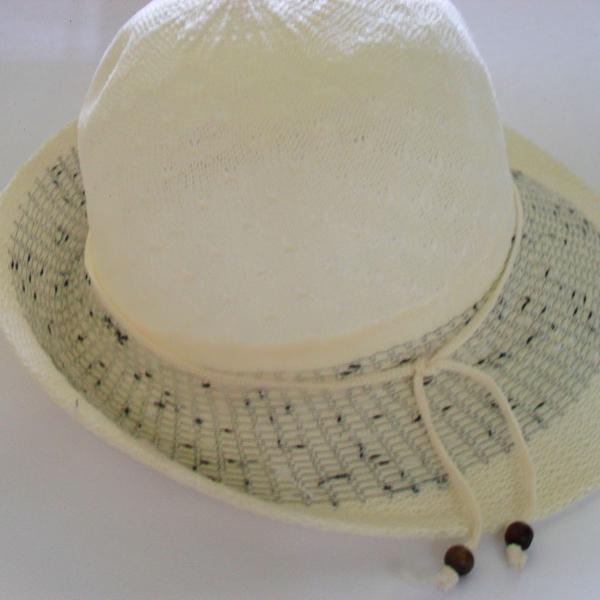 Lindo chapéu praia verão poliester cru bege com preto