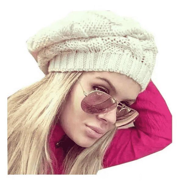 Touca gorro de lã tricô feminina trança inverno várias