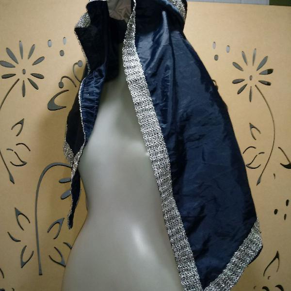 Turbante árabe marinho e prata