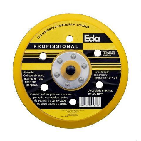 Disco suporte 6 pol p/ lixadeira pneumática hookit 6 furos