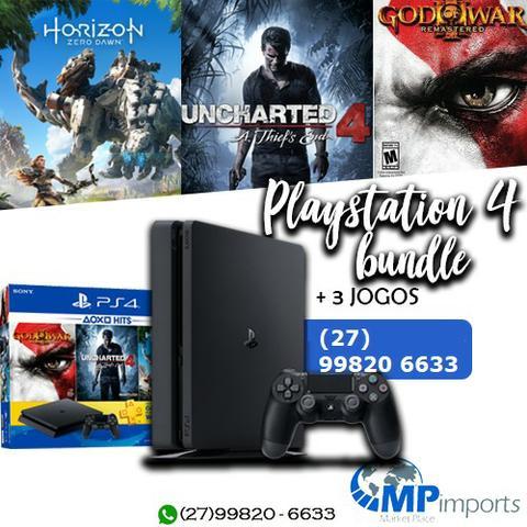 Playstation 4 bundle 3 jogos uncharted 4 god of war e