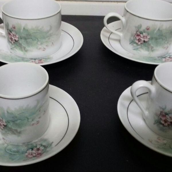 2 xícaras de chá e 3 de café porcelana real