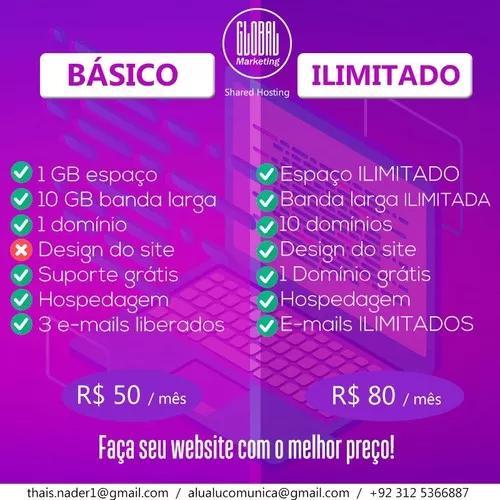 Criação de website completo por r$ 50 mensal