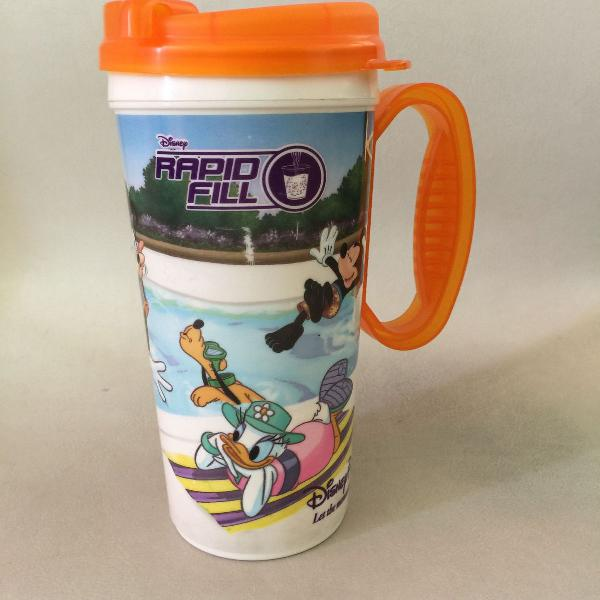 Caneca travel mug disney laranja 2012