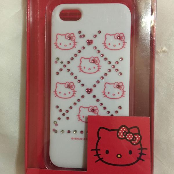 Capa iphone se, 5 e 5s hello kitty xadrez cristais
