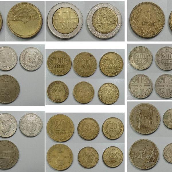 Coleção de moedas antigas da colômbia - peso colombiano