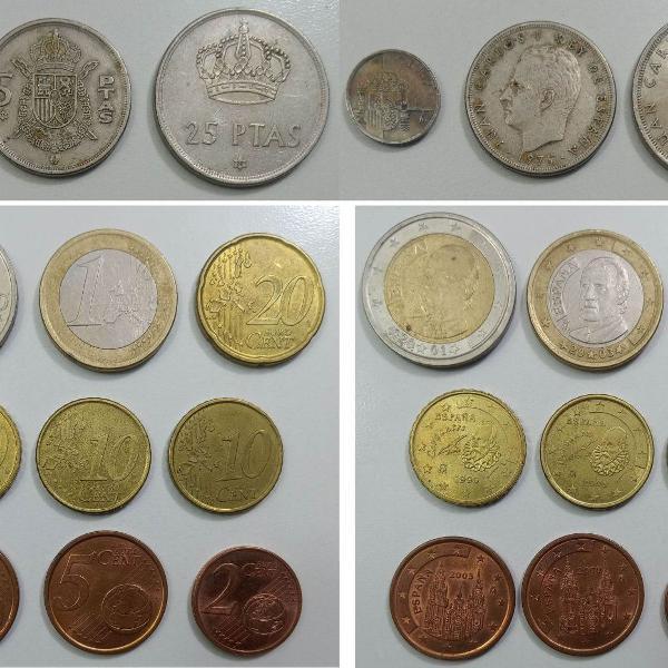 Coleção de moedas antigas da espanha - peseta e euro