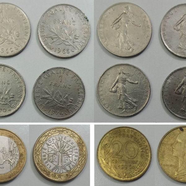 Coleção de moedas antigas da frança - (franc / euro)