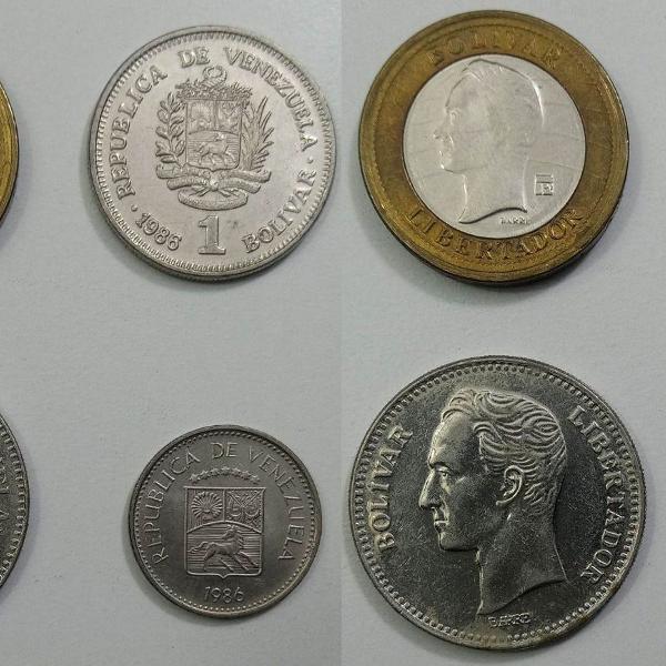 Coleção de moedas antigas da venezuela bolívar