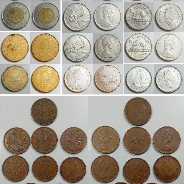 Coleção de moedas antigas do canadá