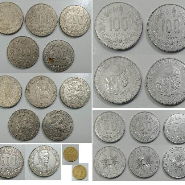 Coleção de moedas antigas do uruguai - peso uruguaio