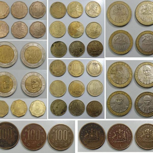 Coleção moedas antigas do chile - diversas - peso chileno