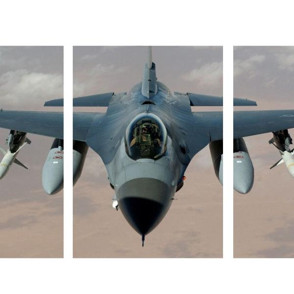 Kit trio placas decorativas avião caça guerra mdf