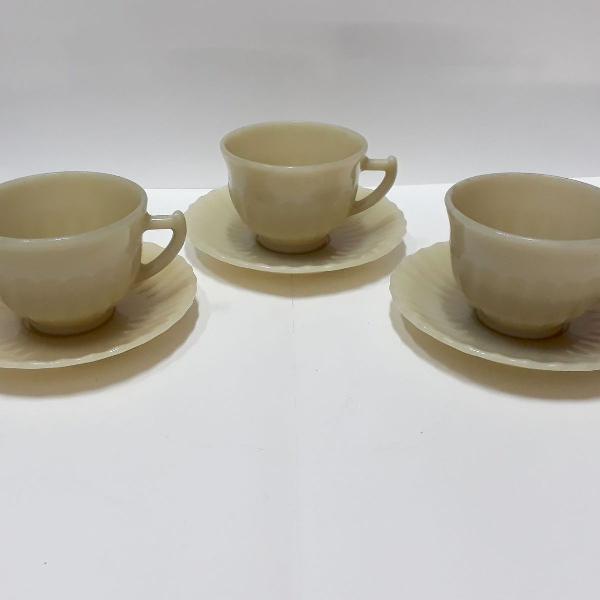 Xícara com pires de chá cata vento beje colorex (c/06