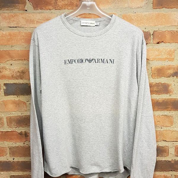 Camiseta manga longa emporio armani cinza