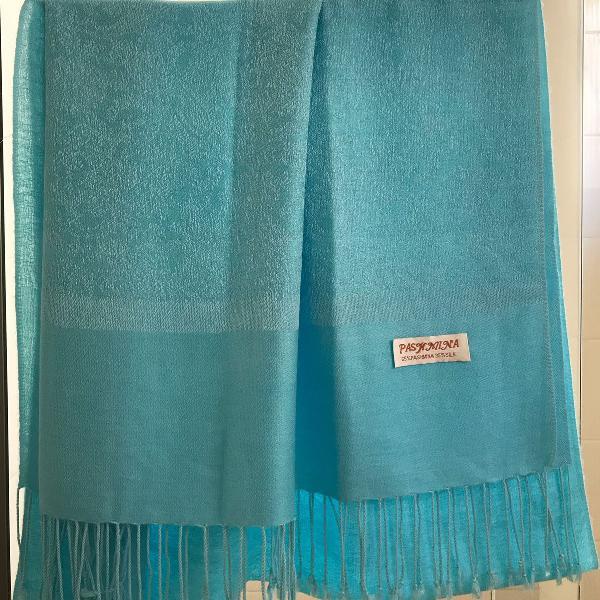Echarpe pashmina lã e seda.