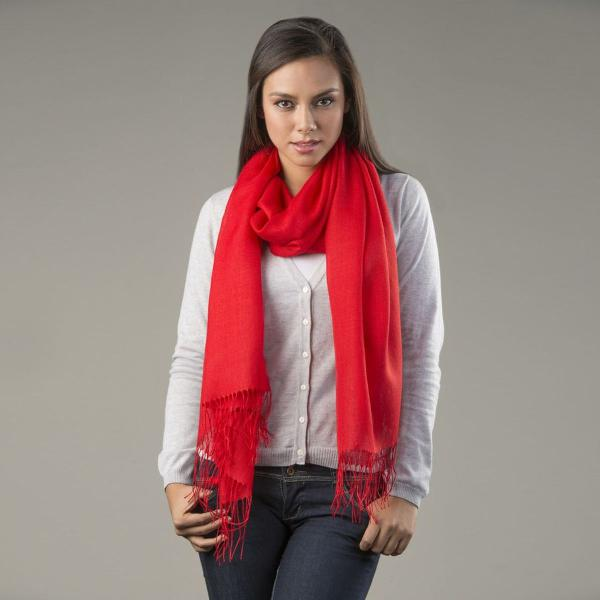 echarpe vermelha de lã de alpaca de seda mademoiselle
