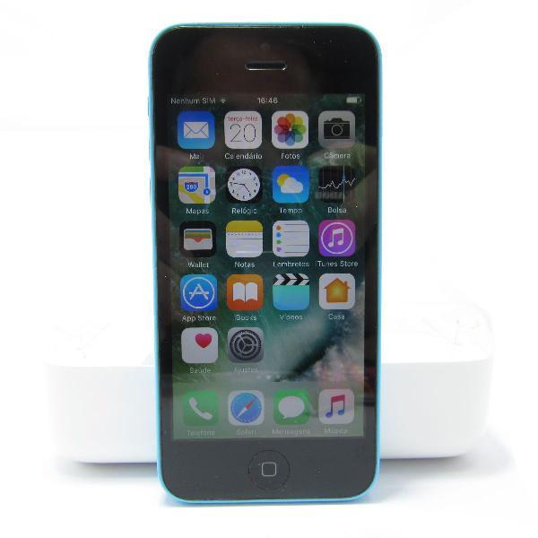 iphone 5c azul 8gb desbloqueado c/ caixa e cabo usb