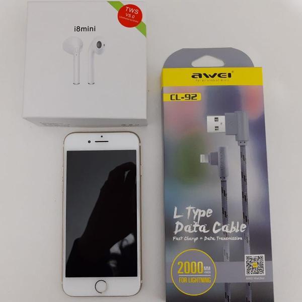 Iphone 7 128gb dourado + cabo + earpod