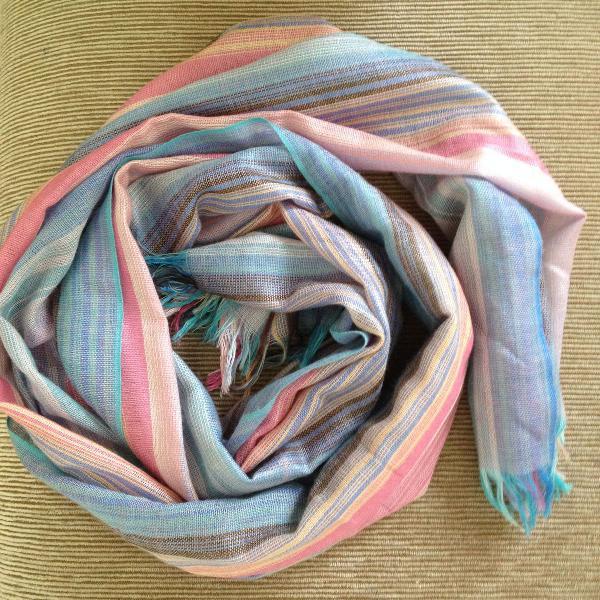 Lenço algodão tons de rosa e azul