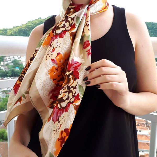 Lenço seda floral