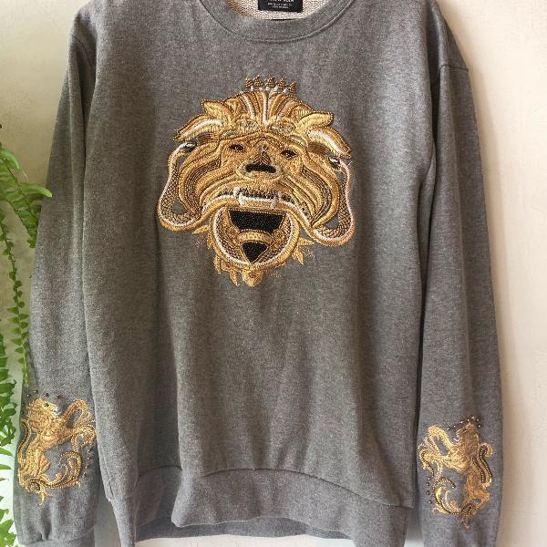 Moletom cinza e dourado leão tamanho p