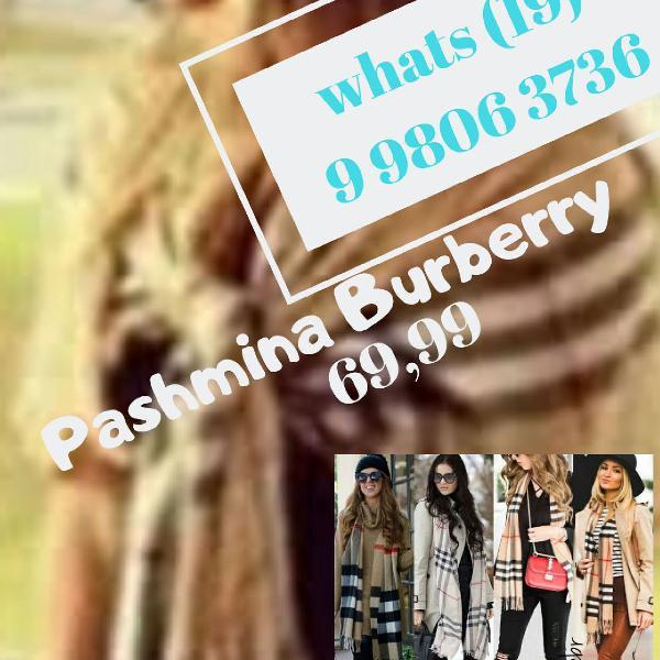 Pashmina burberry xadrez importada bege, mel, marinho e