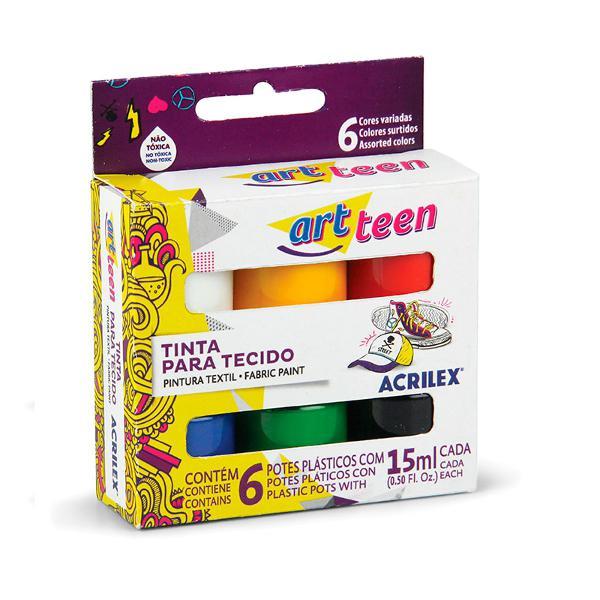 Tinta para tecido art teen acrilex com 6 unidades
