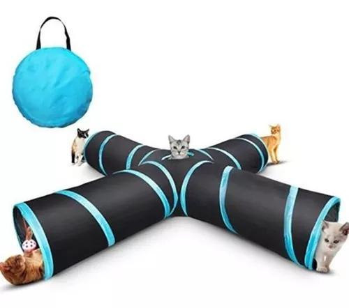 Novo gato túnel projeto dobrável 4-way brinquedo brinquedo