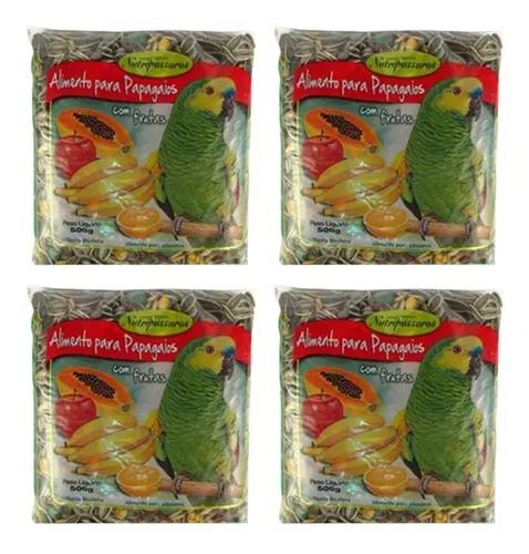 Nutripassaros - 4 unidades ração p/ papagaios c/ frutas