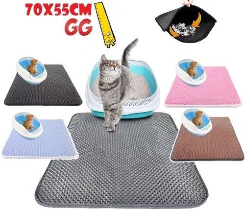 Tapete anti sujeira caixa de areia urina gato gg 70x55cm