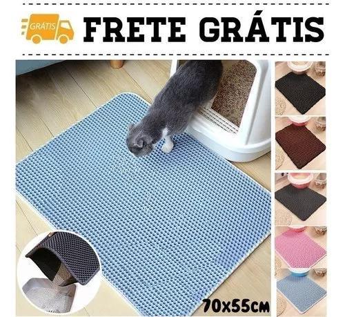 Tapete areia gato anti sujeira higiênico pet gg 70x55cm
