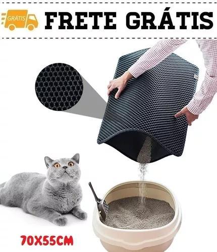 Tapete caixa de areia anti sujeira gato gatos gg 70x55cm