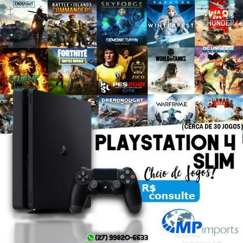 Playstation 4 slim novo lacrado 1 ano garantia console/ loja