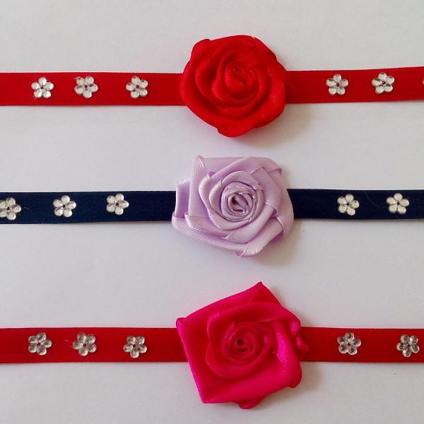 12 gargantilhas flor para cães e gatos