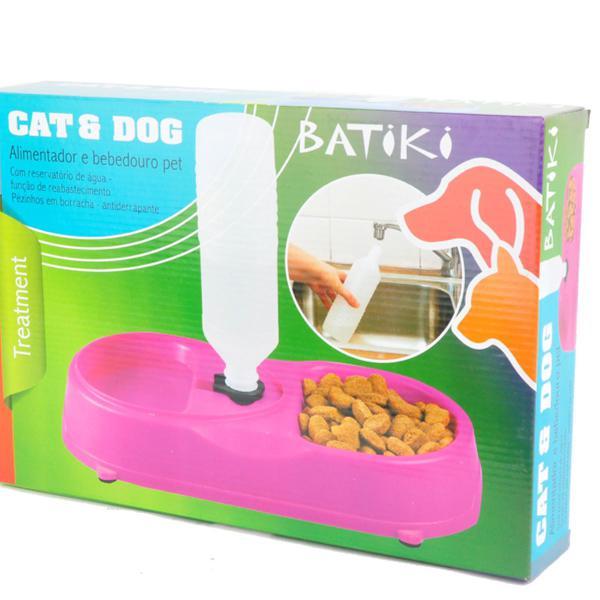 Alimentador e bebedouro duplo pet dog ou cat batiki