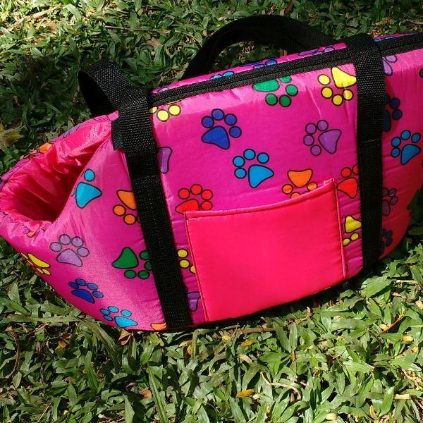 Bolsa de passeio patinhas rosa