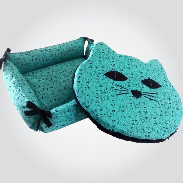Cama para gato + almofada em forma de gato
