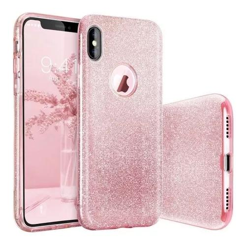 Capa case capinha iphone 6s 6 plus glitter rosa luxo pr