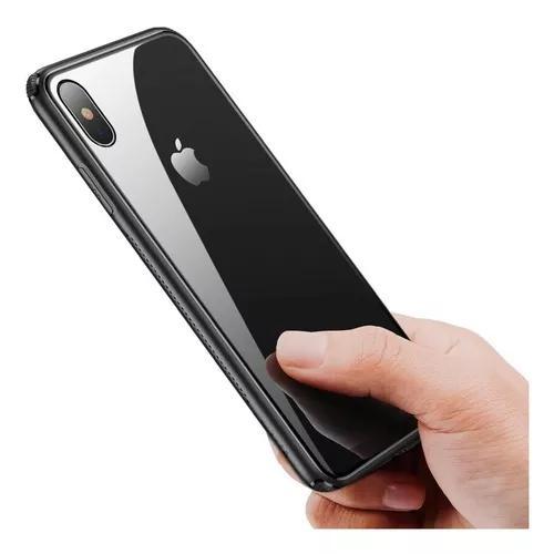 Capa case slim glass baseus iphone x xs + película de vidro