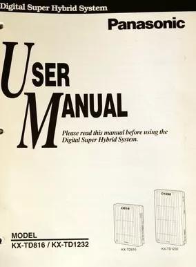 Manual do usuário pabx panasonic kx-td816 / td1232