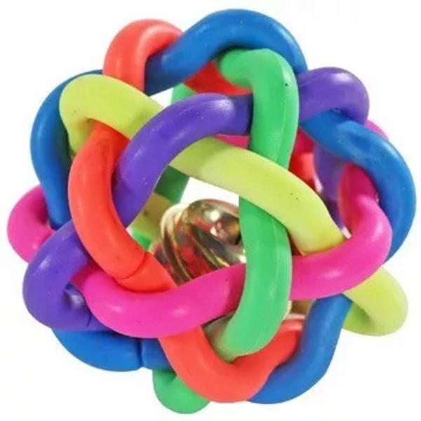Brinquedo gatos/cães bola trançada colorida guizo 8 cm