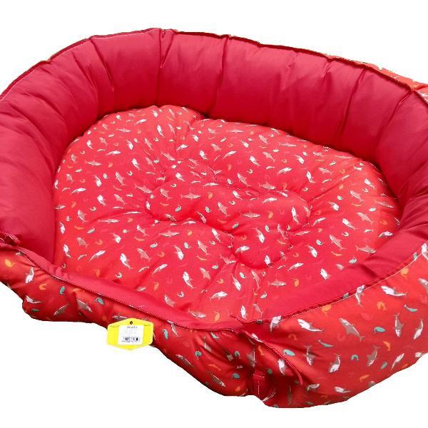 Cama oval para pets com zíper vermelha - m