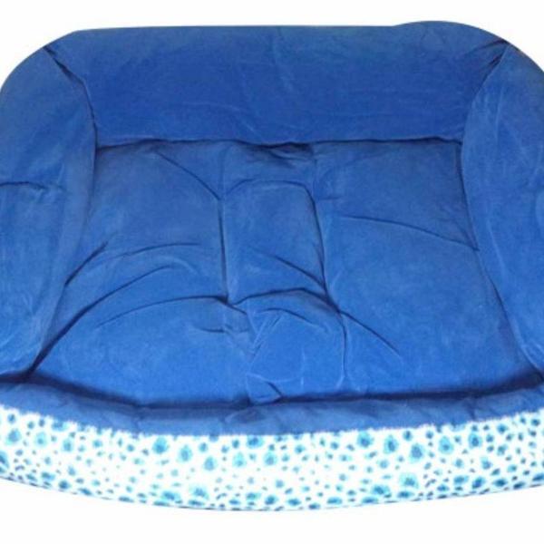 Caminha pet cachorro pequena azul super macia 39 x 48 cm