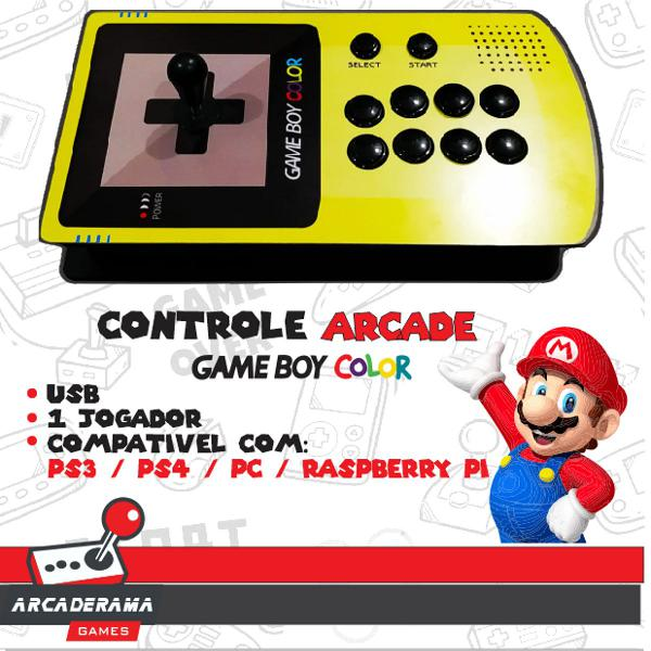 Controle arcade fliperama formato game boy color - ps4 - ps3