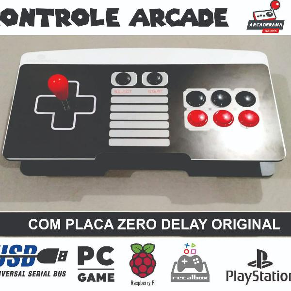 Controle arcade fliperama formato nintendo - ps4 - ps3 -