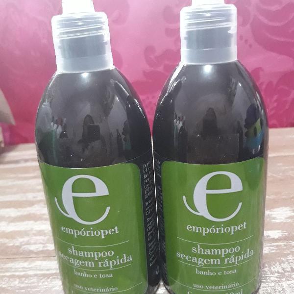 Kit 2 shampoos secagem rápida 300ml empóriopet