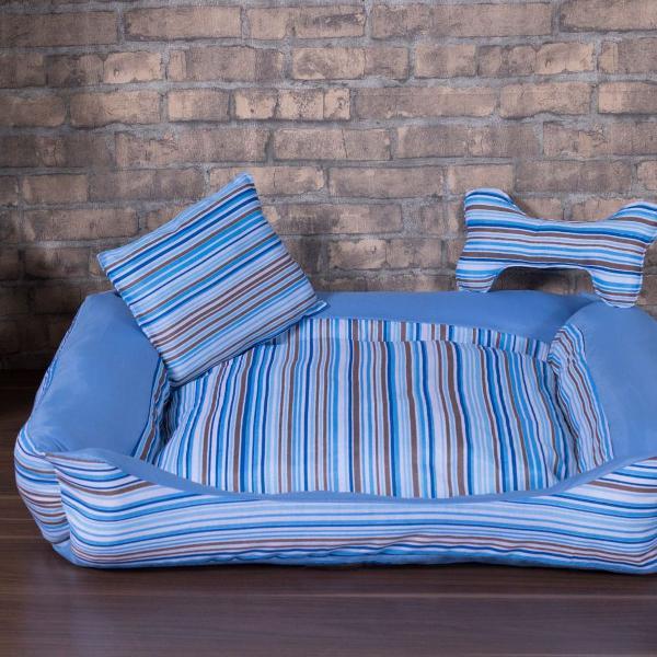 Kit cama pet grande 3 peças cachorro caminha azul listada