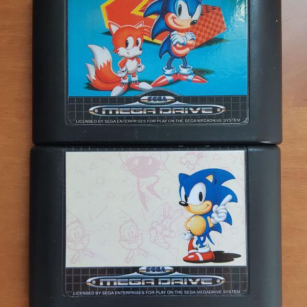 Sonic 1 e 2 mega drive - originais