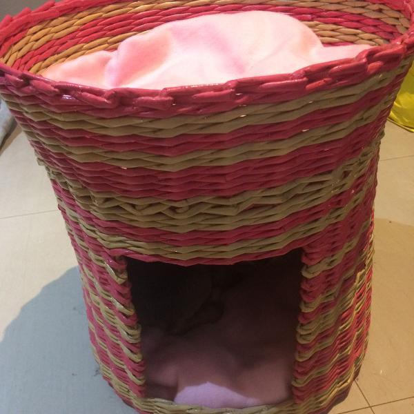 Toquinha toca cabana pet cachorro gato cão rosa